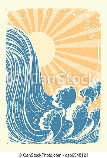 water, grunge, blauwe , waterfall., achtergrond, zon, golven, vector - csp6548121