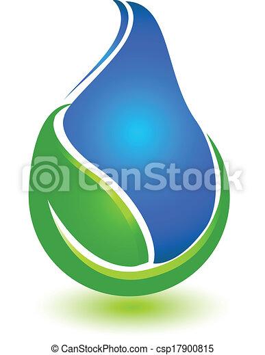 water, logo, druppel, blad - csp17900815