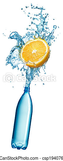 water, sinaasappel, gespetter, fles, plastic - csp19407677