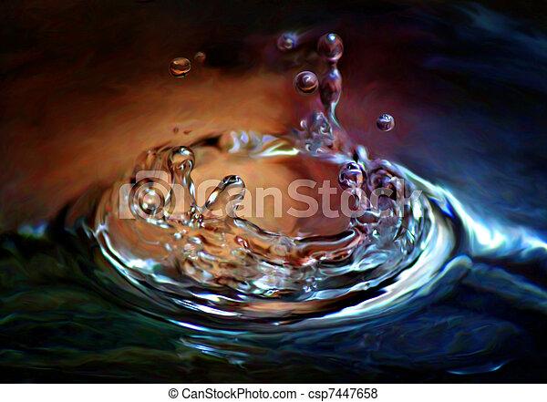 waterdaling, gespetter, kleurrijke - csp7447658