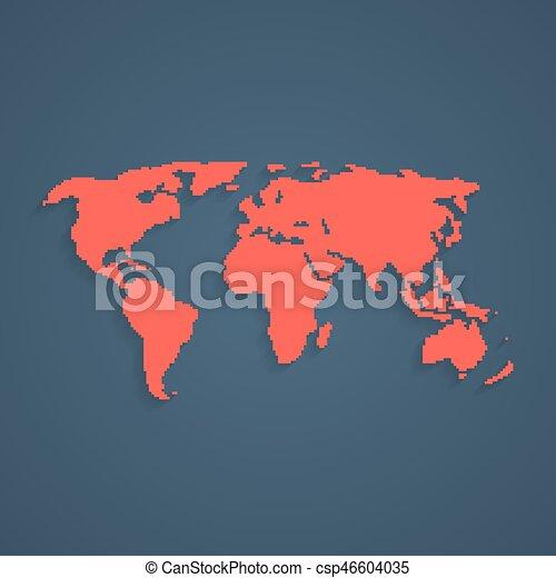wereld, kunst, pixel, rood, kaart - csp46604035