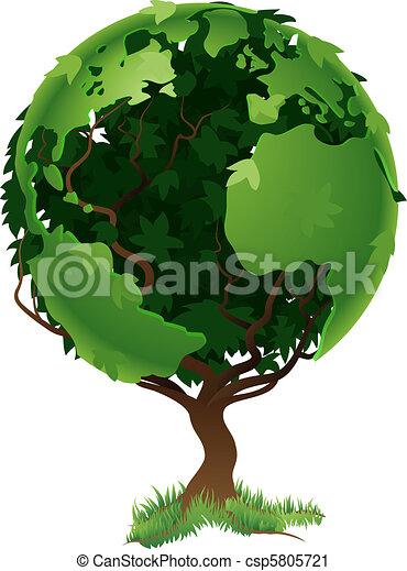 wereldbol, concept, boompje - csp5805721