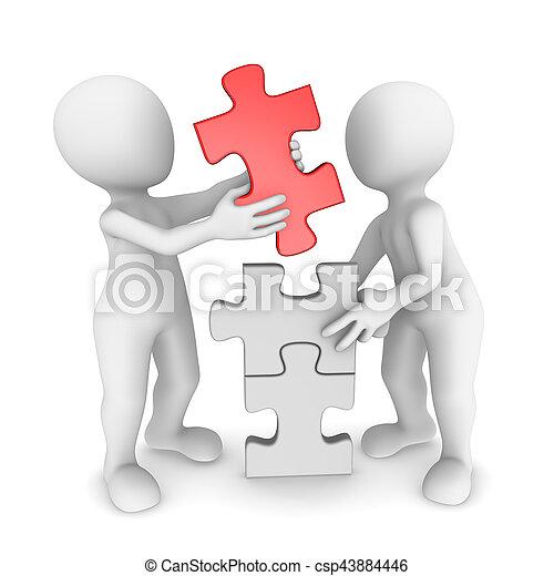 werkende mensen , raadsel, samen, kleine, 3d - csp43884446