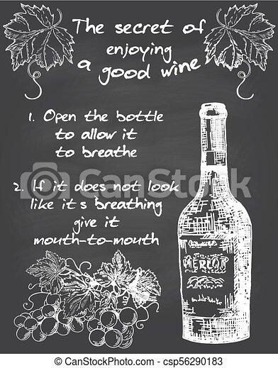 wijntje, vector, chalkboard, ouderwetse , poster, typografie - csp56290183