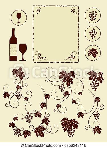 winery, druif, set., wijngaarden, voorwerpen - csp6243118