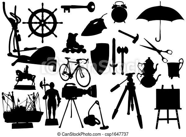 witte , voorwerpen, silhouette, achtergrond - csp1647737
