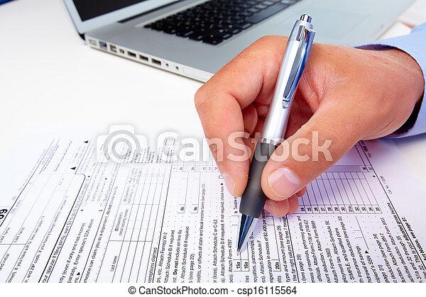 zakenman, vullen, form. - csp16115564