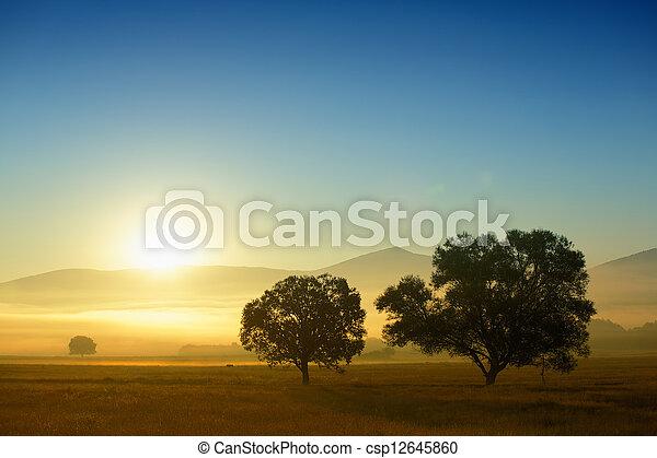 zonopkomst, dorp - csp12645860