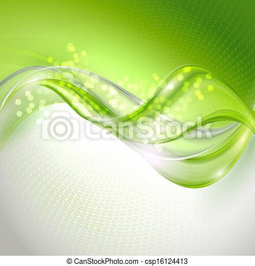 zwaaiende , abstract, groene achtergrond - csp16124413